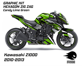 "Kawasaki Z1000 Graphic Kit ""HEXAGON ZIG ZAG"" 2010-2013"