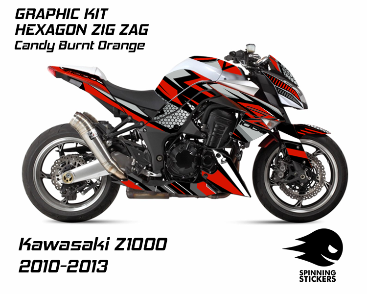 "Kawasaki Z1000 Graphic Kit ""HEXAGON ZIG ZAG"" 2010-2013 - Multiple Colors"