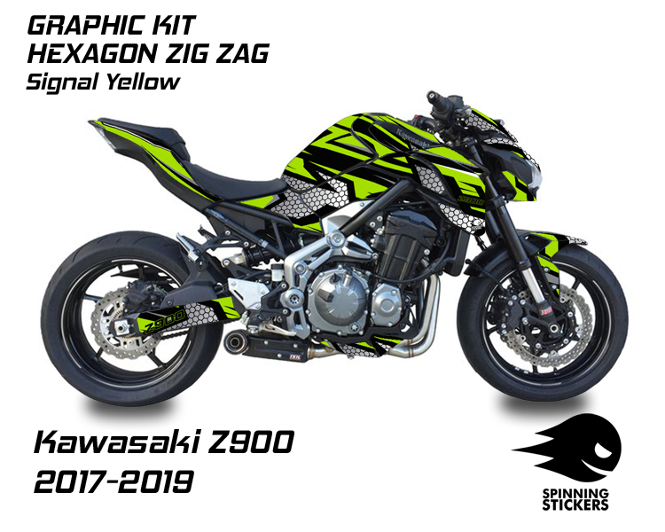 "Kawasaki Z900 Graphic Kit ""HEXAGON ZIG ZAG"" 2017-2019"