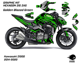 "Kawasaki Z1000 Graphic Kit ""HEXAGON ZIG ZAG"" 2014-2020"