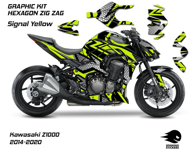 """Kawasaki Z1000 Graphic Kit """"HEXAGON ZIG ZAG"""" 2014-2020"""
