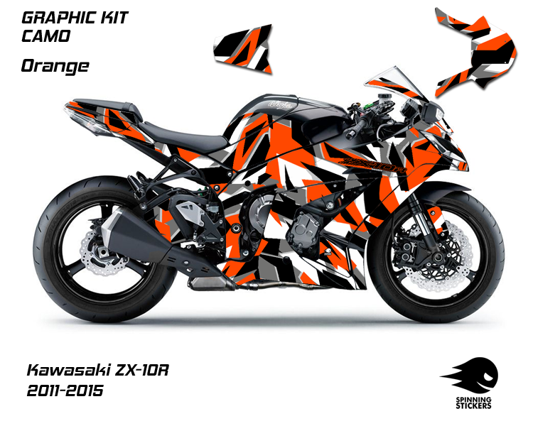 """Kawasaki ZX-10R Graphic Kit """"CAMO"""" 2011-2015 (Front & Rear - Both Sides Included)"""