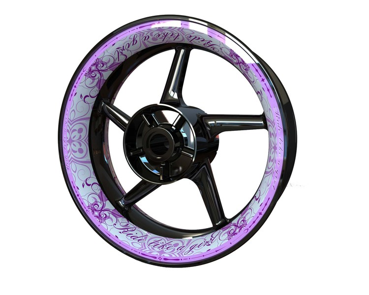 RIDE LIKE A GIRL Wheel Graphics Premium (Front & Rear - Both Sides Included)