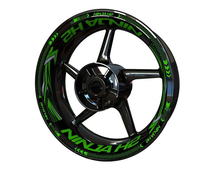 Kawasaki Ninja H2 Wheel Stickers Plus (Front & Rear - Both Sides Included)