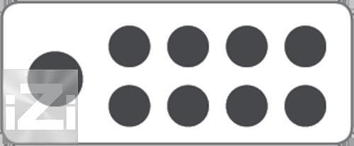 E0840 / E0841 Kopplingsplint 1x70 + 8x16 mm² hålbild Skyllermarks