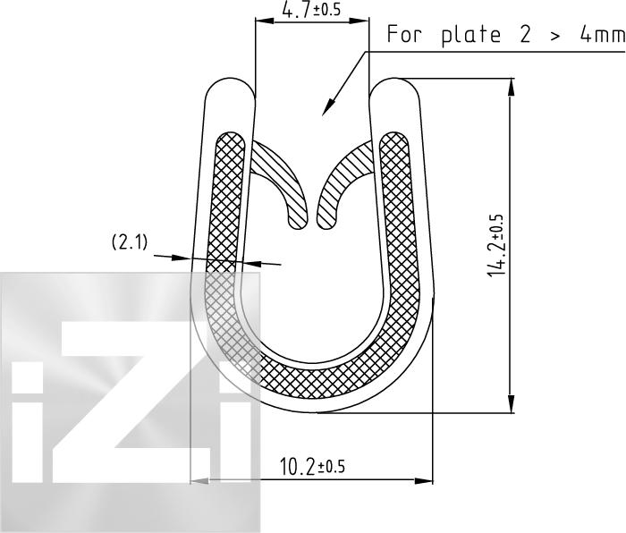 Kantlist med PVC kärna 2-4 mm