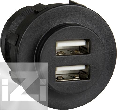 USB Uttag dubbelt 5A svart