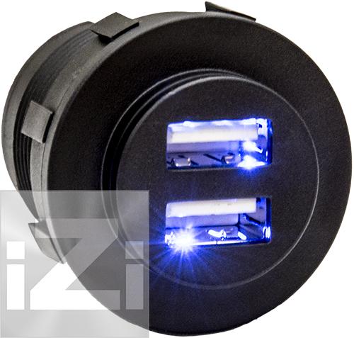 USB Uttag dubbelt med belysning 5A svart
