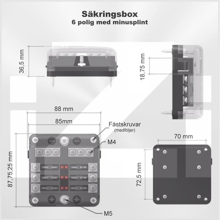 Ritning Säkringsbox för 6 st flatstiftsäkringar
