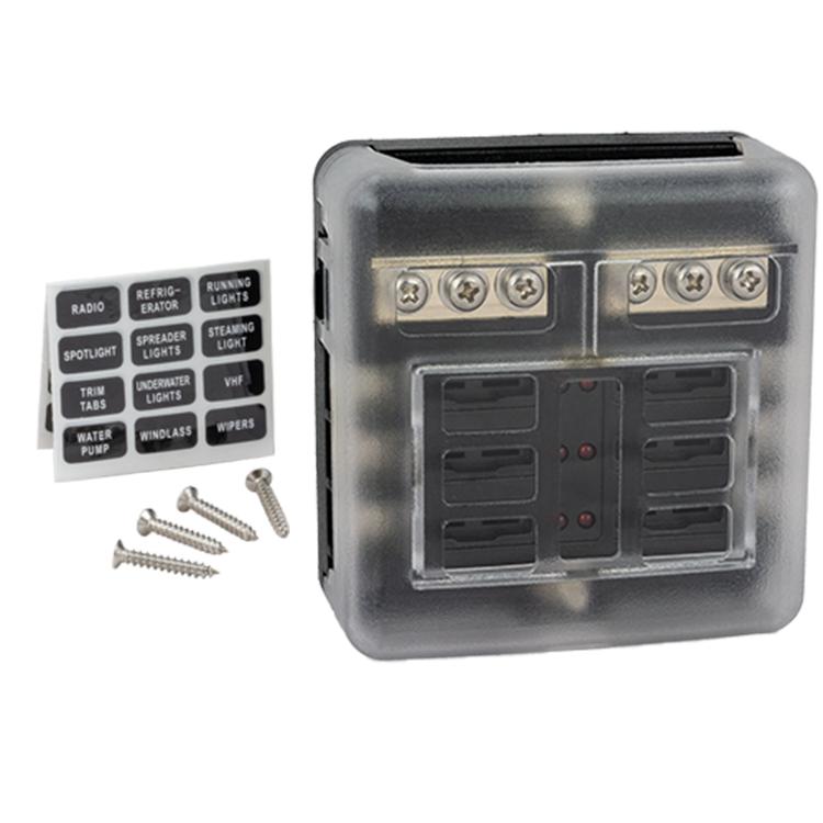 Säkringsbox komplett med skysskåpa, etiketter och fästskruvar