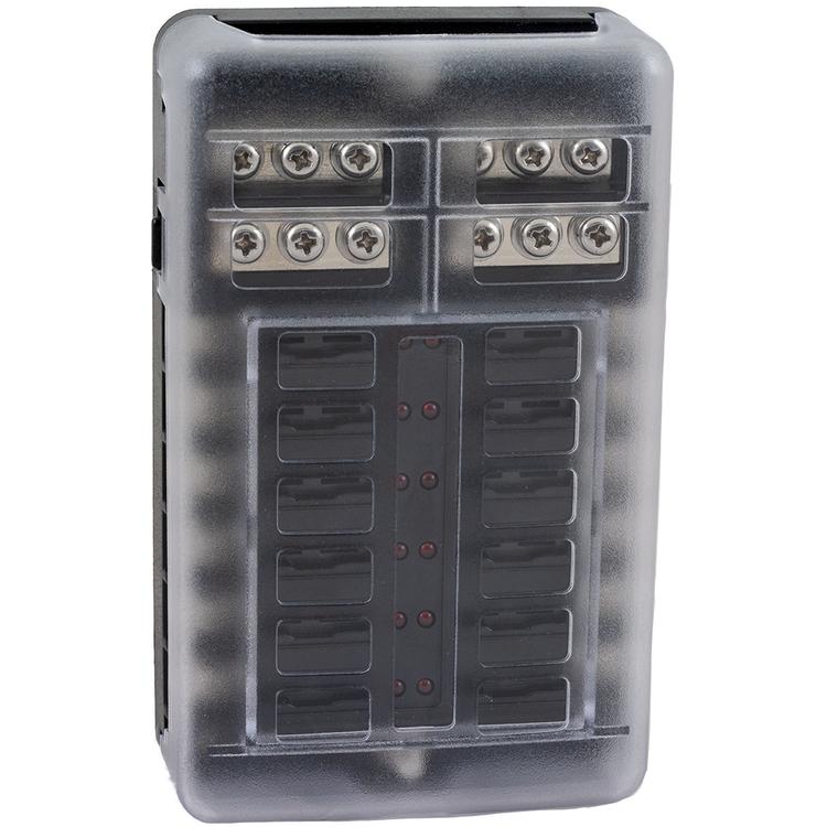 Säkringsbox för 12 st säkringar med skyddskåpa