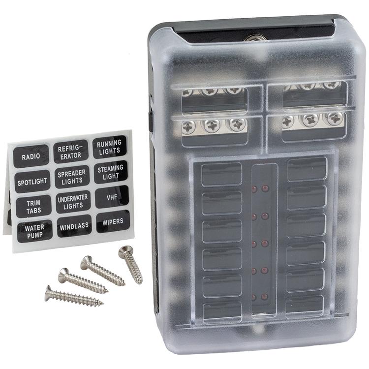 Säkringsbox för 12 st säkringar komplett med skyddskåpa, etiketter och fästskruvar