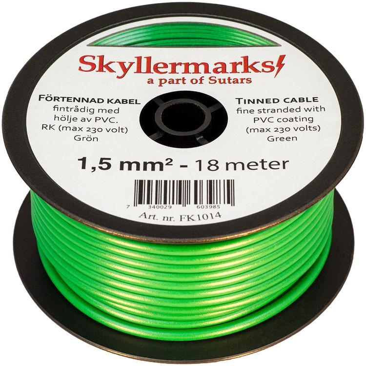 Minirulle Enledad Förtennad grön 1,5 mm² - 18 m Skyllermarks FK1014