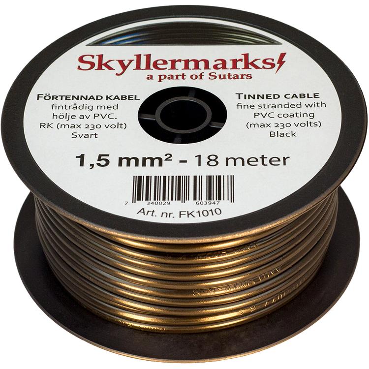 Minirulle Enledad Förtennad svart 1,5 mm² - 18 m Skyllermarks FK1010