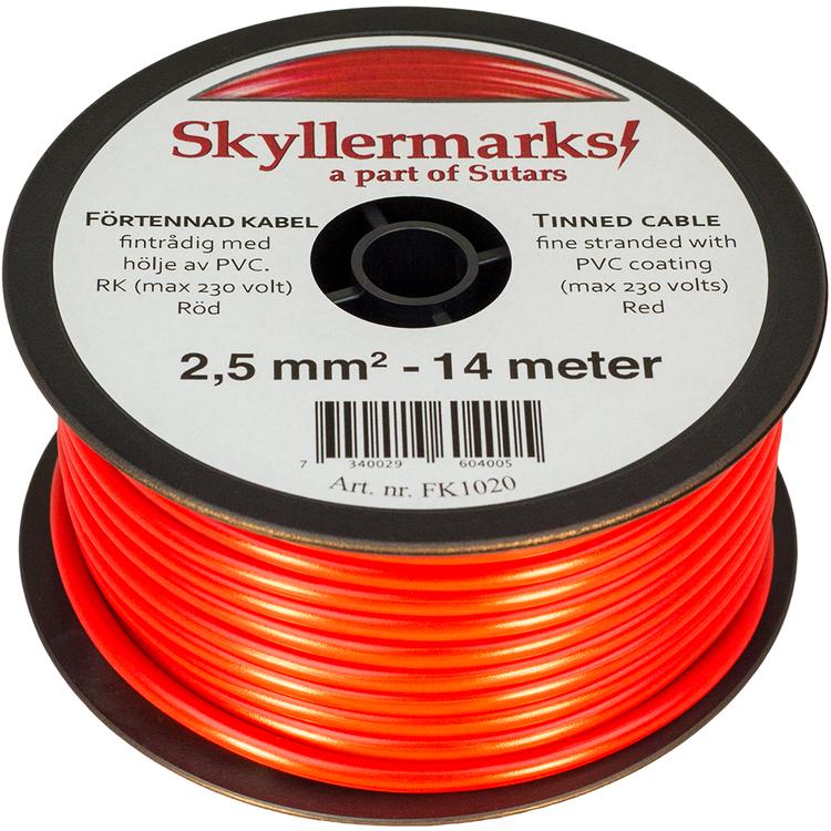 Minirulle Enledad Förtennad röd 2,5 mm² - 14 m Skyllermarks FK1020