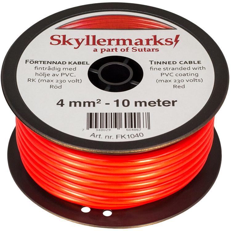 Minirulle Enledad Förtennad röd 4 mm² - 10 m Skyllermarks FK1040