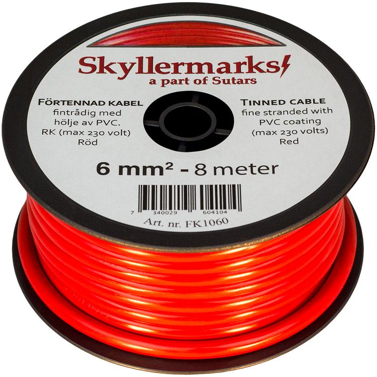 Minirulle Enledad Förtennad röd 6 mm² - 8 m Skyllermarks FK1060