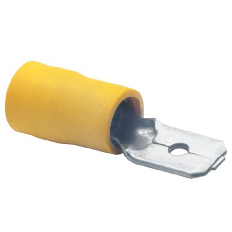 Flatstiftkabelsko Isolerad gul, 10-pack