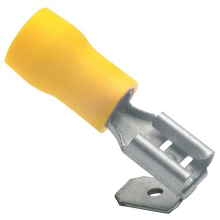 Flatstiftshylsa m. Förgrening Isolerad gul, 10-pack