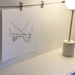 "Poster ""Hold Hand down"" black white 40x40"