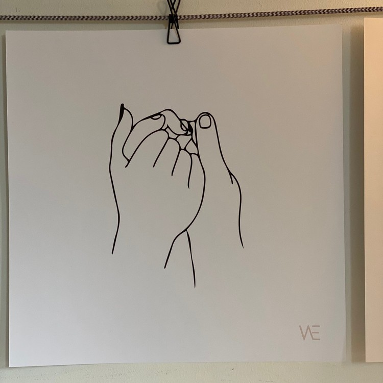 "Poster ""Hold tight hands"" 40X40 cm Black/White"