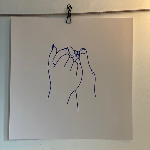 """Poster """"Hold tights hands"""" blue/beige 40X40cm"""