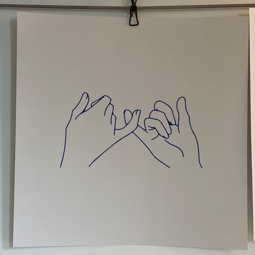 """Poster """"Hold hand up"""" 40X40 cm Beige/Blue"""