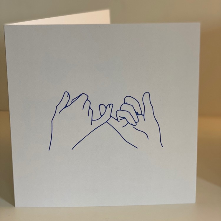 """Card: """"Hold hands up"""" 15X15 Blue/Beige"""