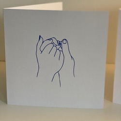 """Card: """"Hold hands tight"""" Beige/blue 15X15"""