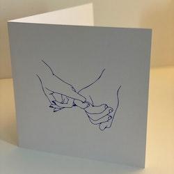 "Card: ""Hold hands down"" 15X15 Blue/Beige"