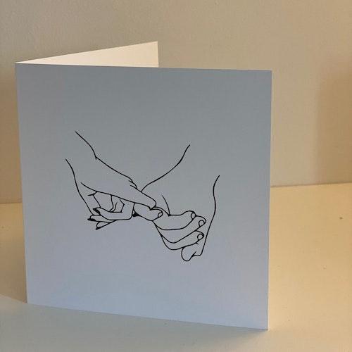 "Card: ""Hold hands down"" 15X15 cm Black/white"