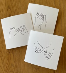 """Cards 3-pack """"Hands"""" Black/white"""