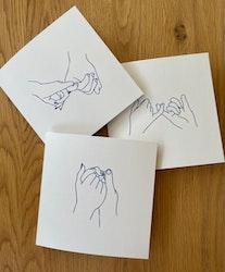 """Cards 3-pack """"Hands"""" beige/blue"""
