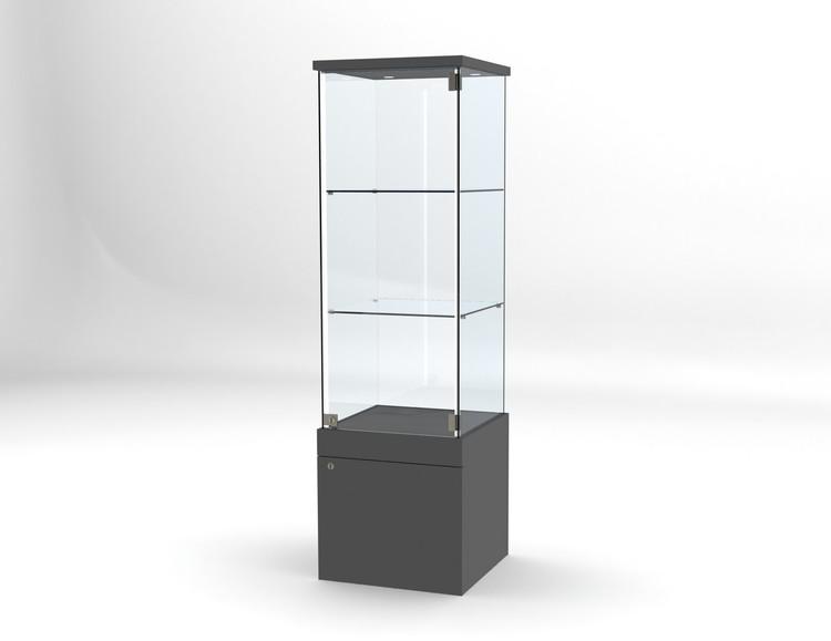 Glasvitrin BAS Förvaring 40*40*172 cm med 3 cm topp.