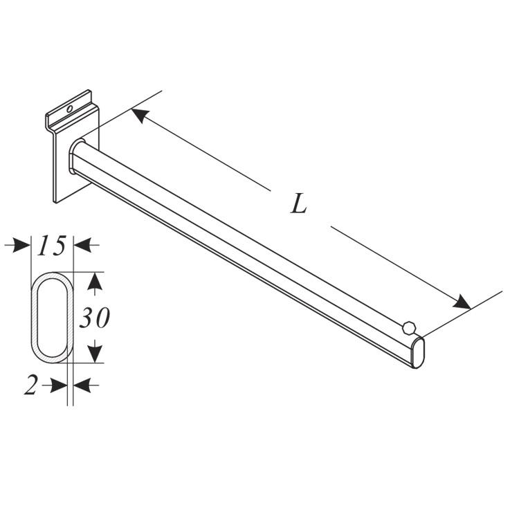 Konsol rak för glashylla - 20-35 cm