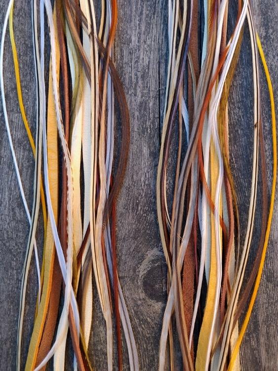 Läder & Fjäderörhängen Par #2084