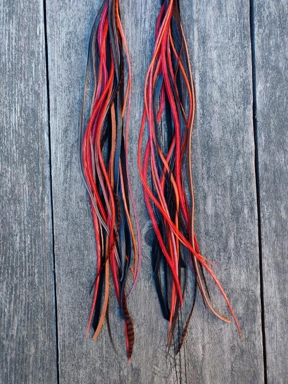 Läder & Fjäderörhängen Par #2082