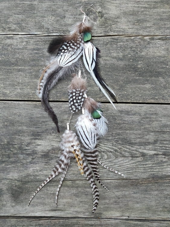 Kedjeörhänge med Fjädrar #2058
