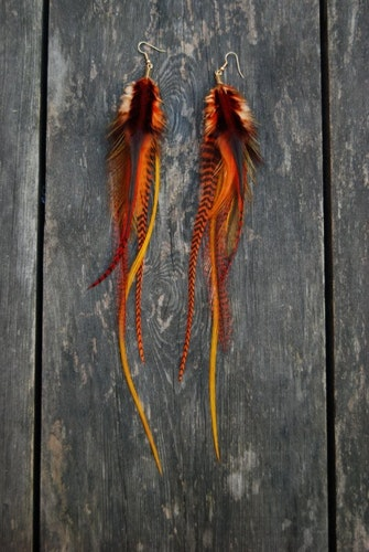 Feather earrings Autumn