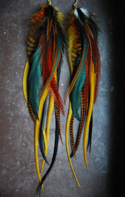 Warmth feather earrings