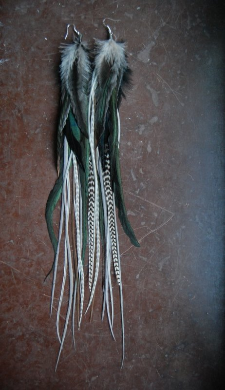 Grey Wind feather earrings