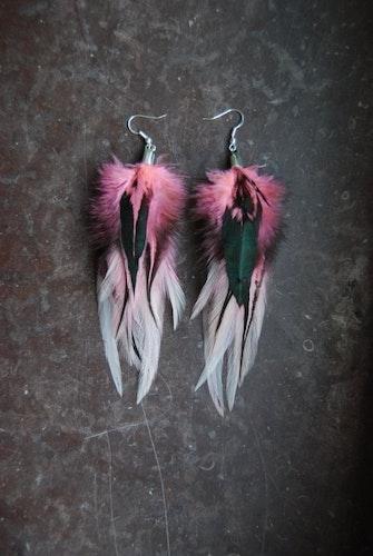 Pink Ladies Feather Earrings