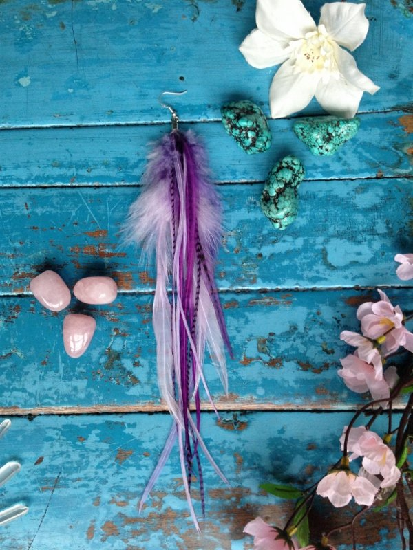 Amethyst single feather earring