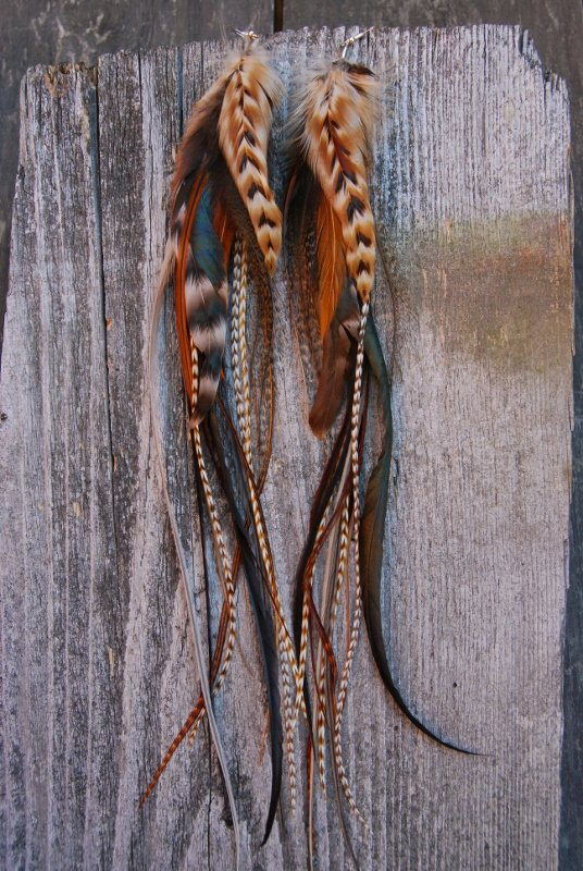 Red Fox feather earrings