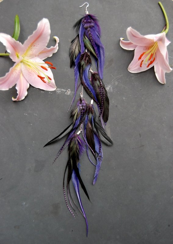 Violet feather earring