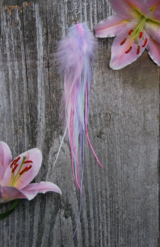 Sweetheart single feather earring