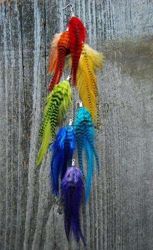 Rainbow feather earring
