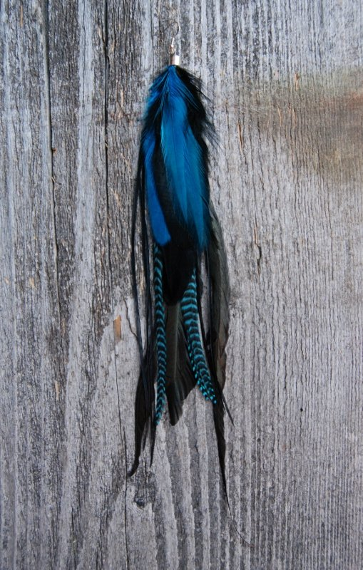 Deep Sea single feather earring