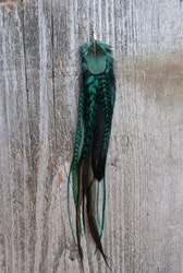 Forest Green Single Feather Earring