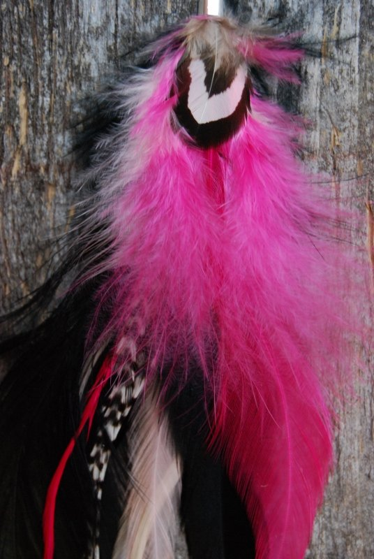 Hot Pink single feather earring